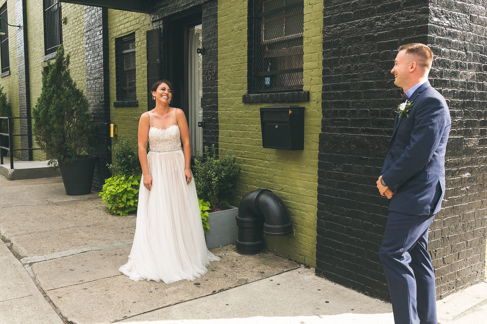First Look Green Building Brooklyn Wedding