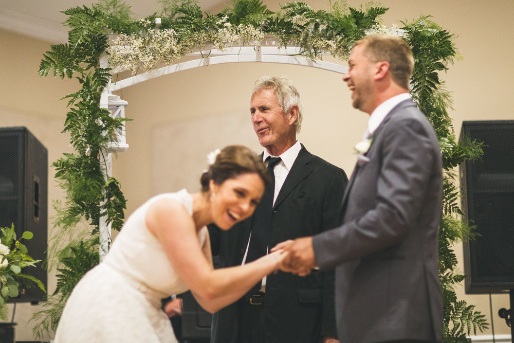 Couple laughs at Officient