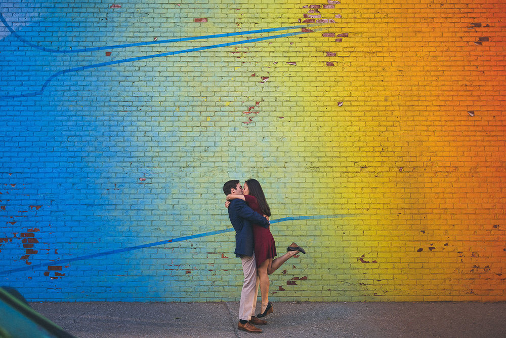Colorful Wall Engagement Photography