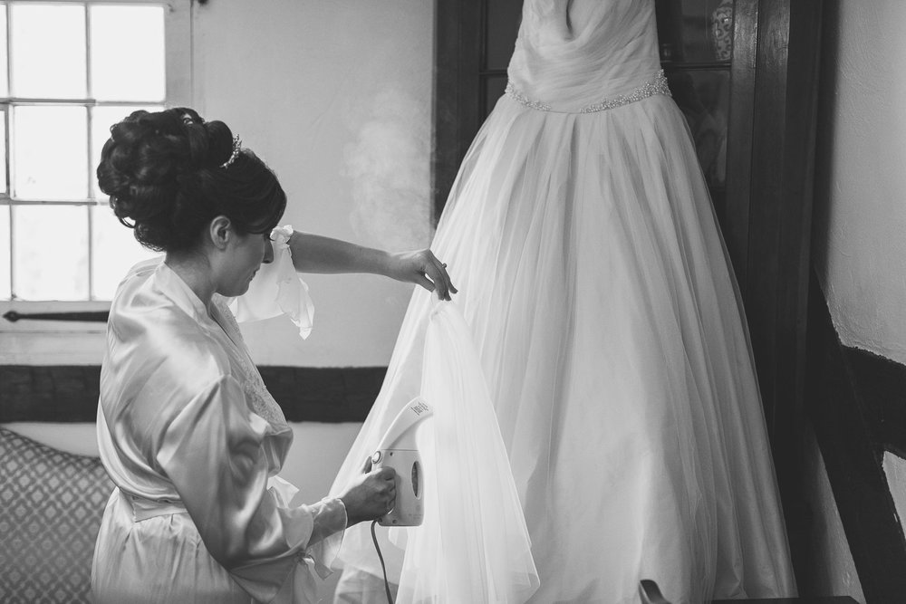Bride Steams her dress