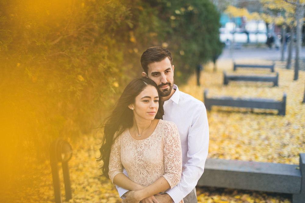 Leaves Hoboken Engagement Couple