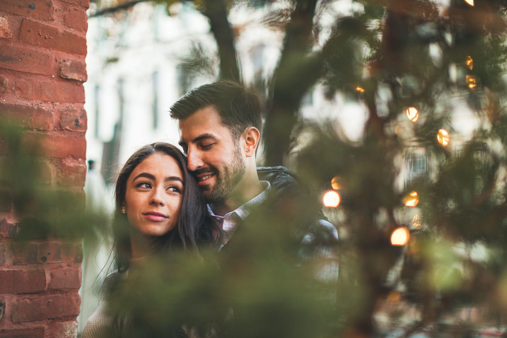 Christmas Lights Hoboken Engagement Photography