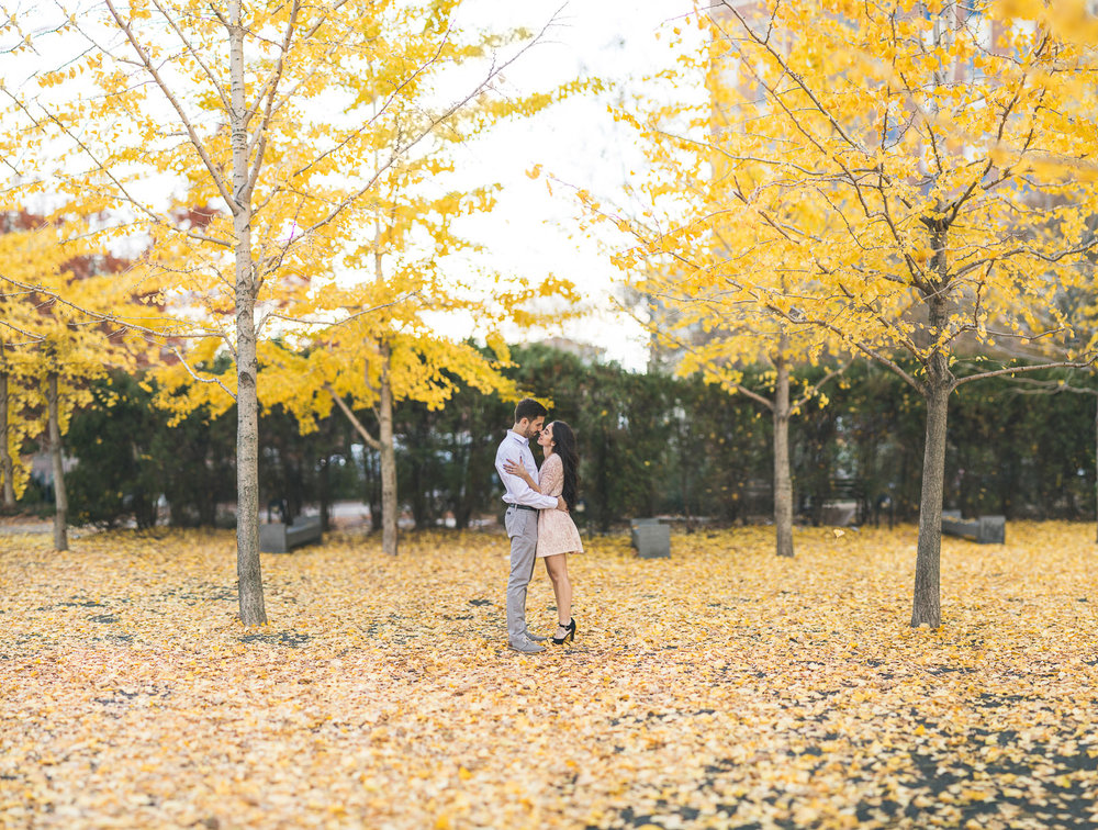 Fall Hoboken Engagement Photo