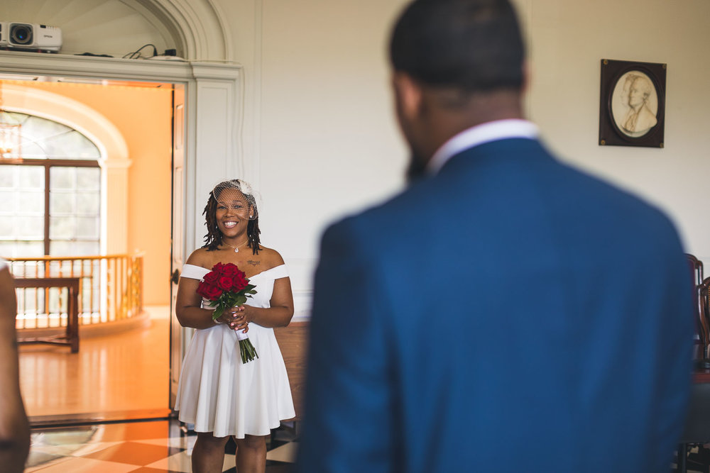 Bride sees Groom for the first time.