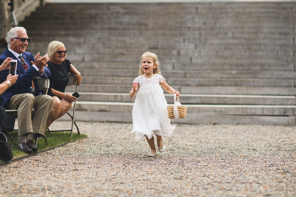 Flower Girl runs down aisle