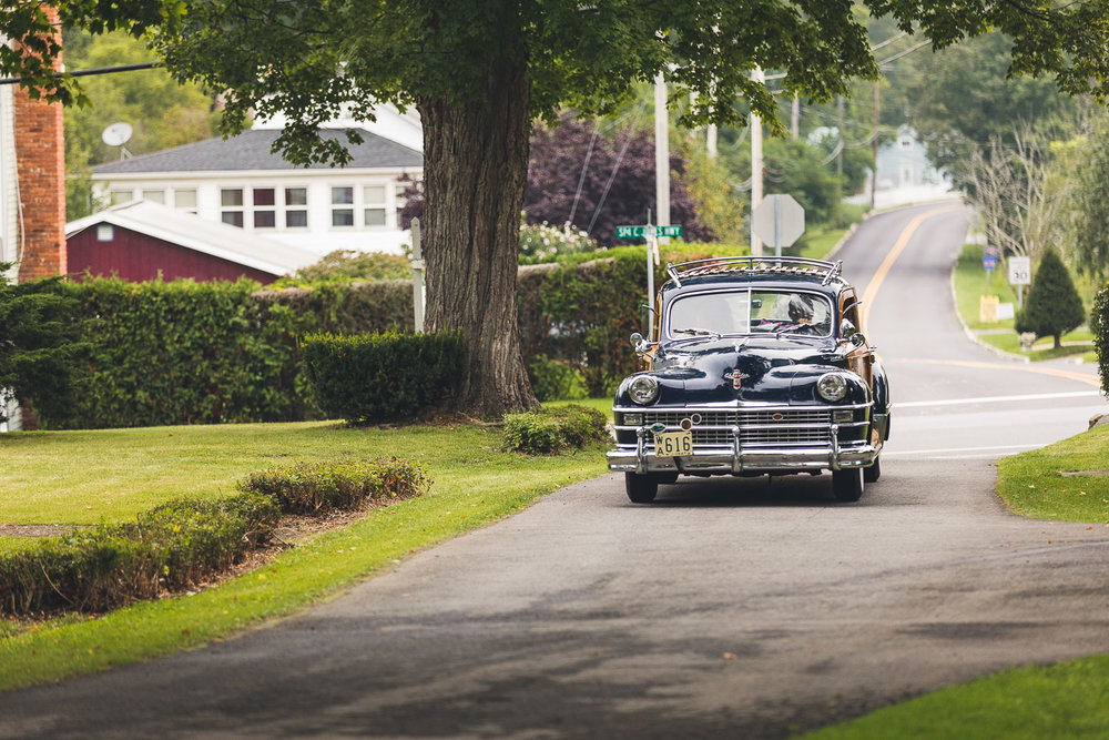 Bride shows up in classic car