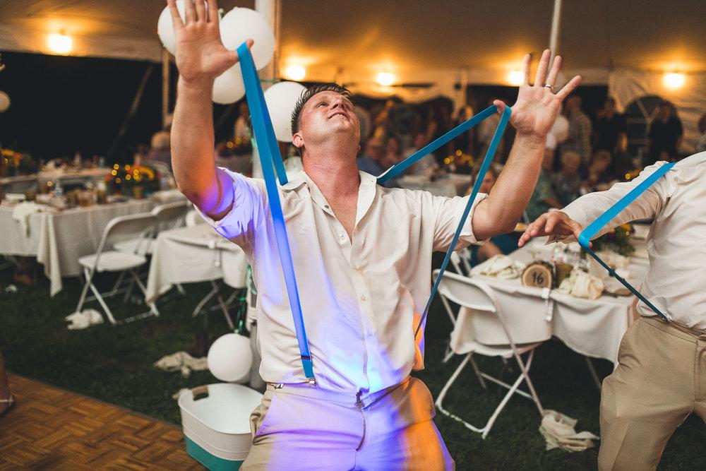 Groom Dances Farm Wedding