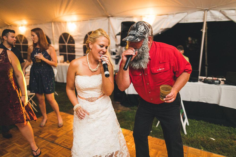 Bride Sings During Farm Wedding