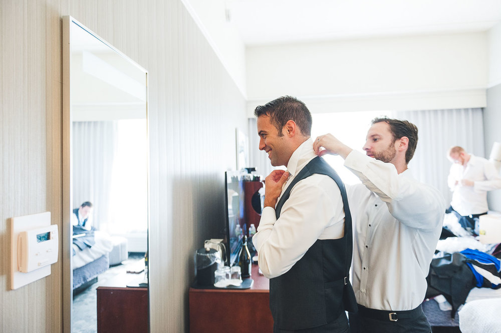 Groom gets help with tie