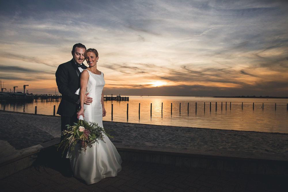 Sunset Wedding Portrait Long Beach Island