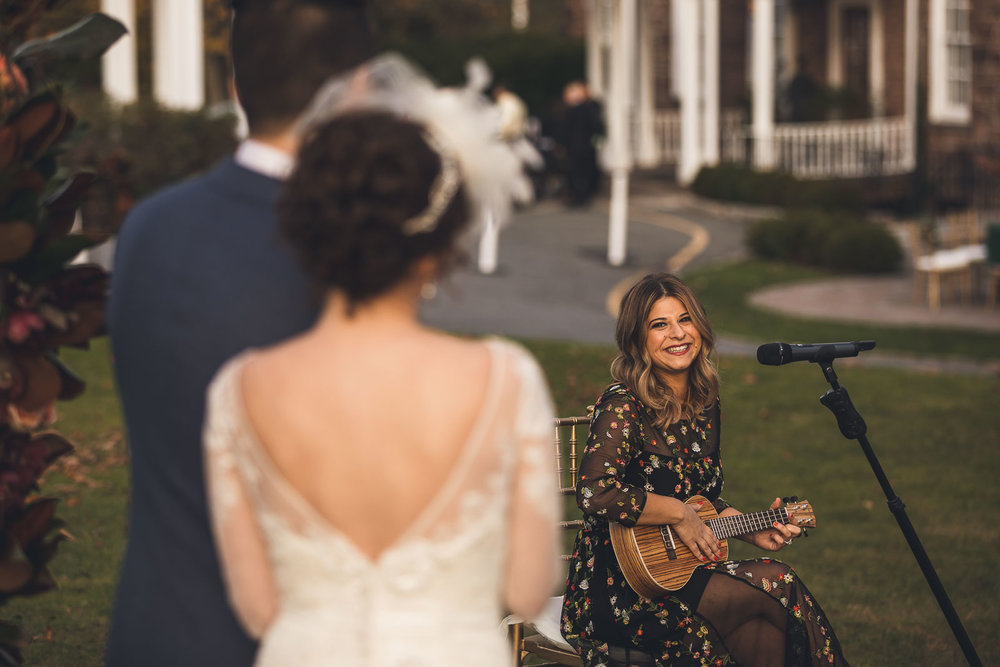 Ukulele performance during wedding ceremony