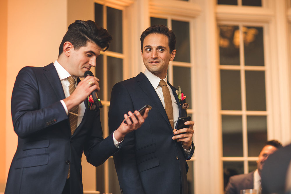 Brothers give a speech