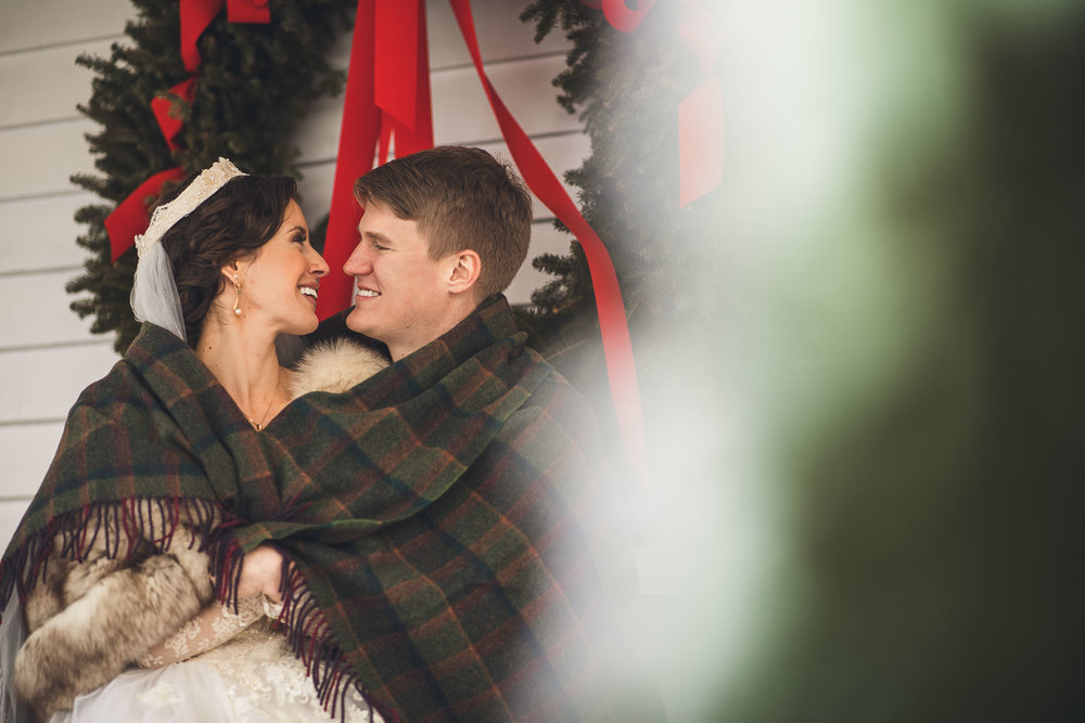 Cranbury Inn Winter Wedding Portraits