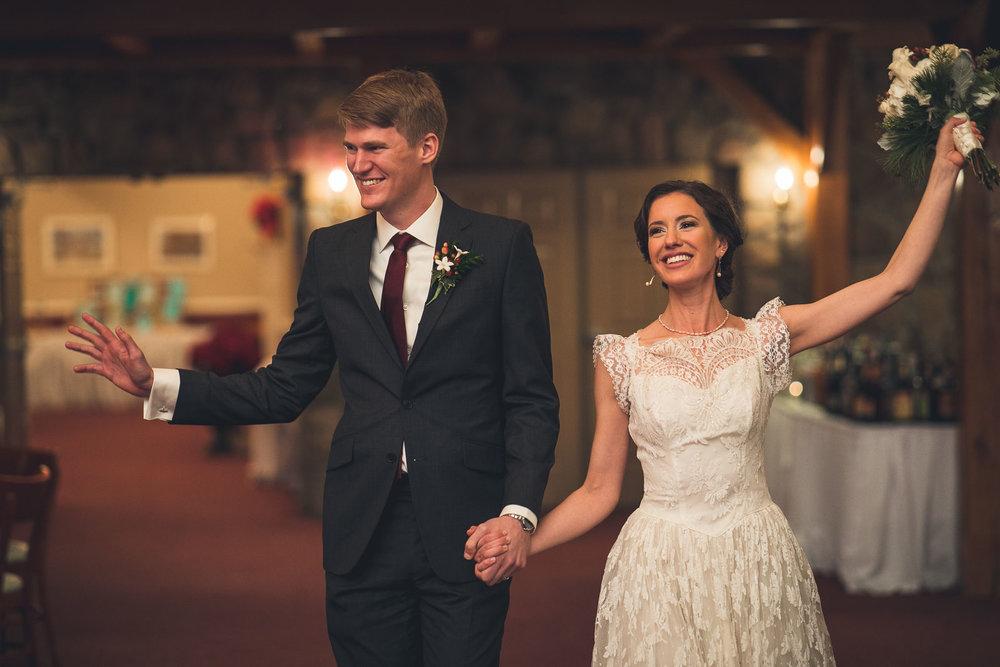 Groom and Bride enter Wedding