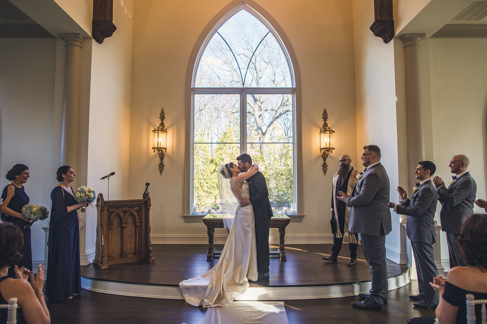 First Kiss Park Chateau Wedding Ceremony