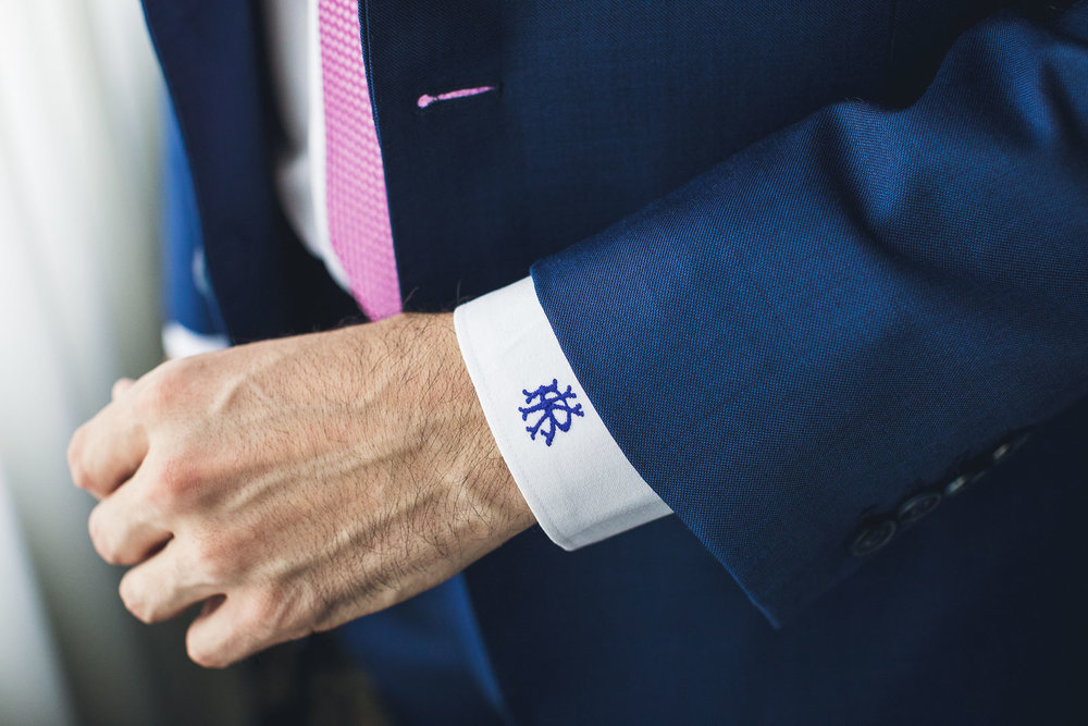 Groom monogrammed shirt cuffs