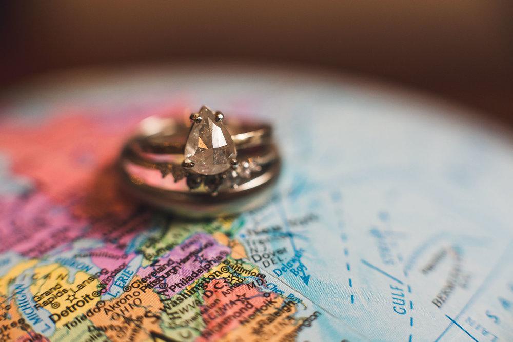 Wedding Ring Shot on Globe