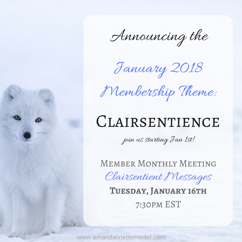 image of a fox standing next to a description of the membership program - Join us for January's Membership This Month on Clairsentience!