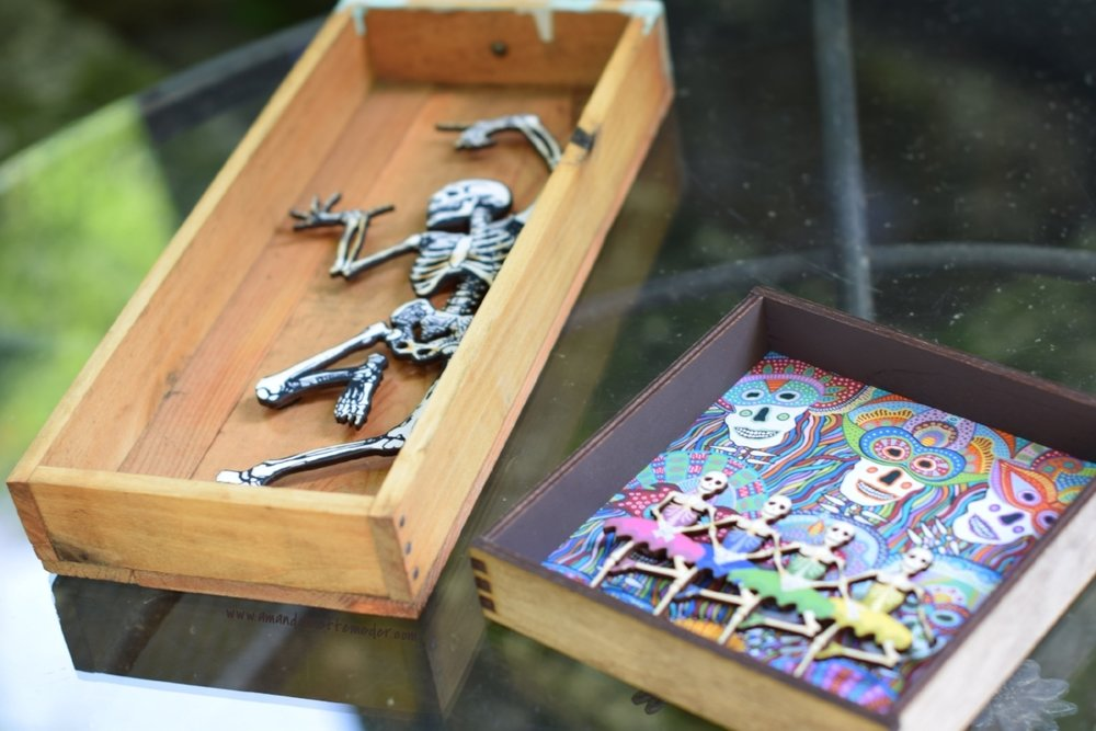 Halloween Shadow Boxes by Roadside Linen Arts of Philadelphia PA - interested in Halloween home ideas for 2018? Check out these indoor Calaveras skeletons created by Pennsylvania Mixed Media Artist Karen Bice, priced  $32-36 .