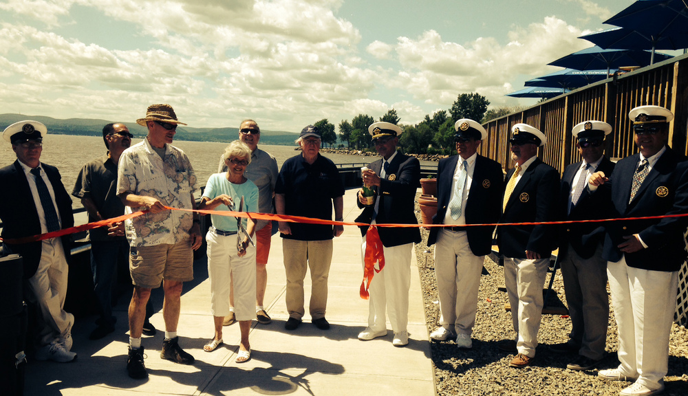 Croton-on-Hudson Village Trustee Ann   Gallelli   and Mayor Leo Wiegman cut the ribbon marking the opening of the new bulkhead around the Croton Yacht Club on June 7, 2014.
