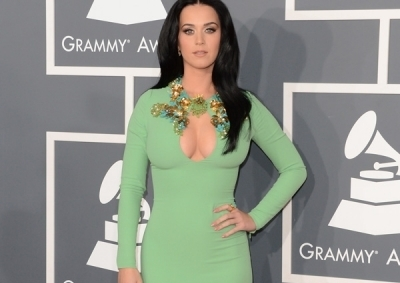 Katy Perry at the Grammy's in her mint green Gucci dress.