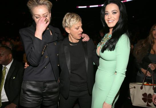 Ellen DeGeneres is clearly impressed by Katy's outfit.