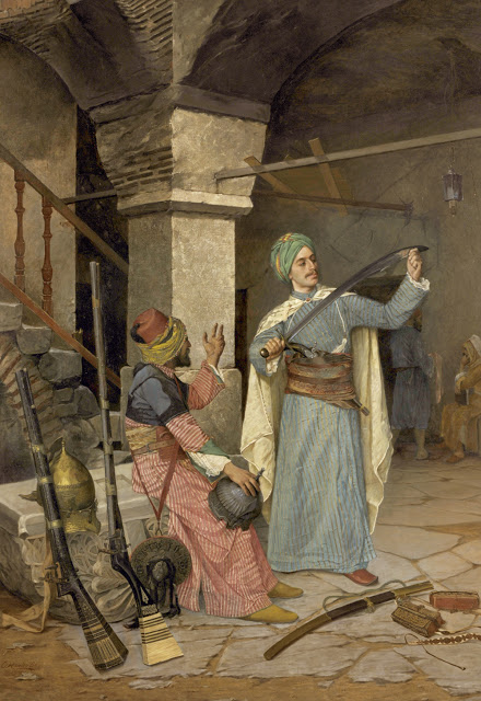 The Weapons Trader,  an ancient Turkish tradition as painted by the Ottoman virtuoso Osman Hamdi Bey