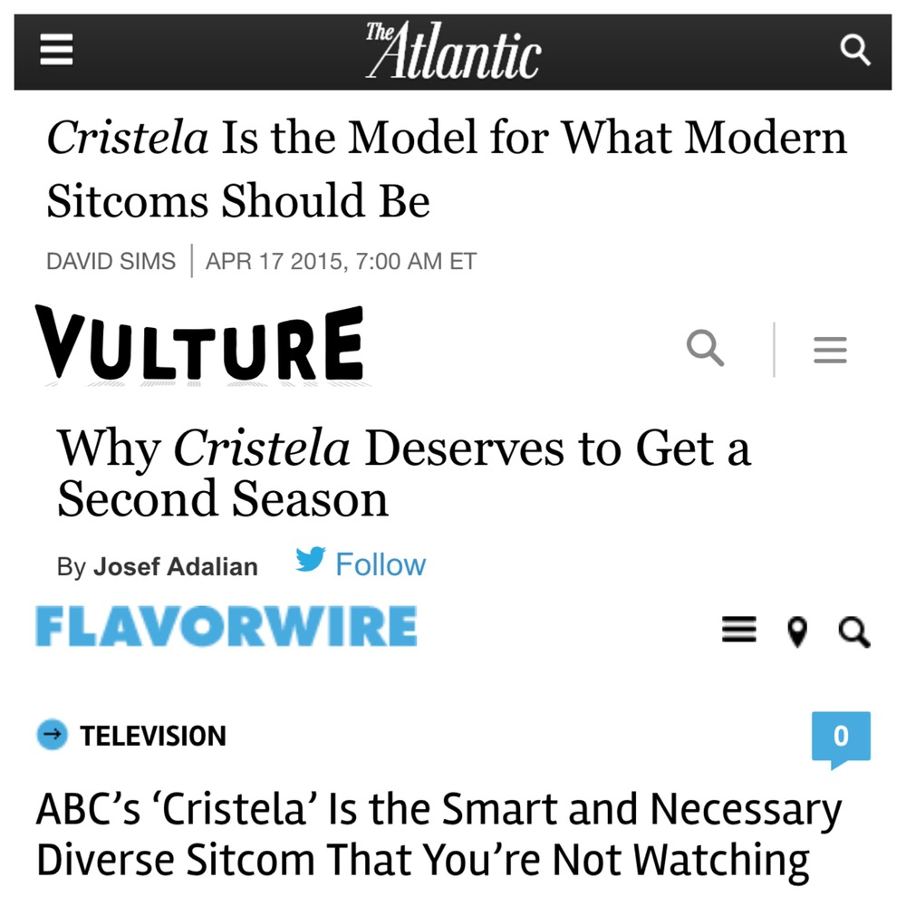 These nice people wrote very nice things about our show #Cristela. What a wonderful thing to know that our little show crossed their minds!