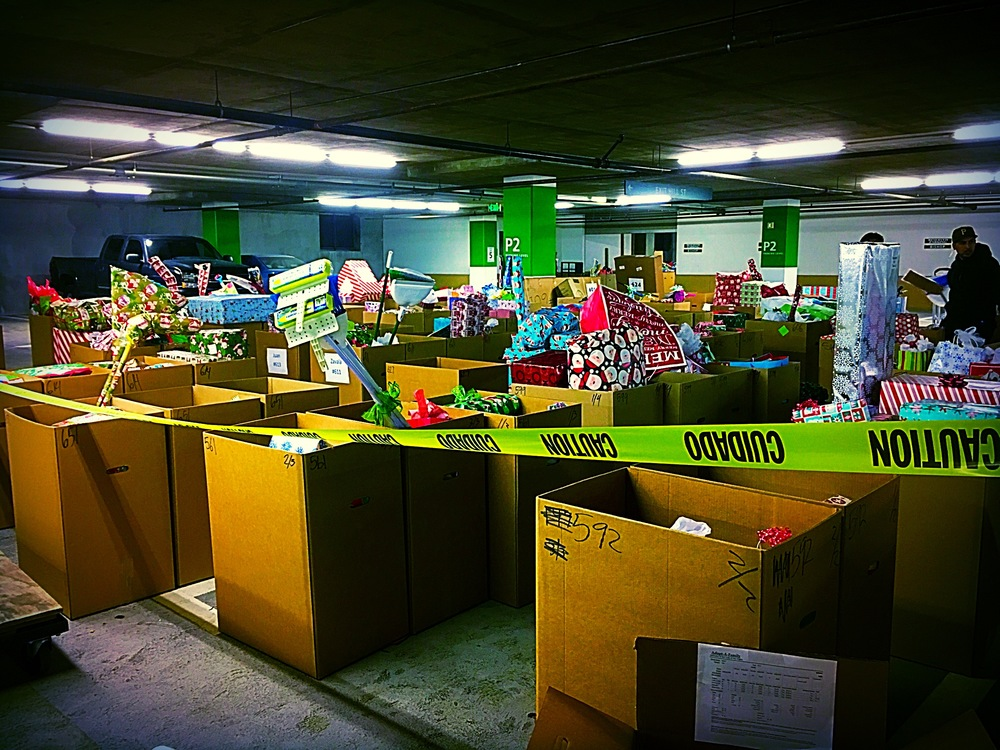 Church garage with gifts for families.