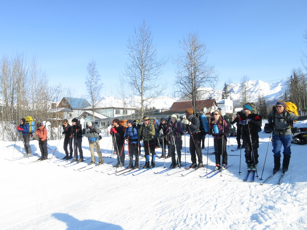 Skiers lined up at the starting line in McCarthy.  Photo by D. Cramer.
