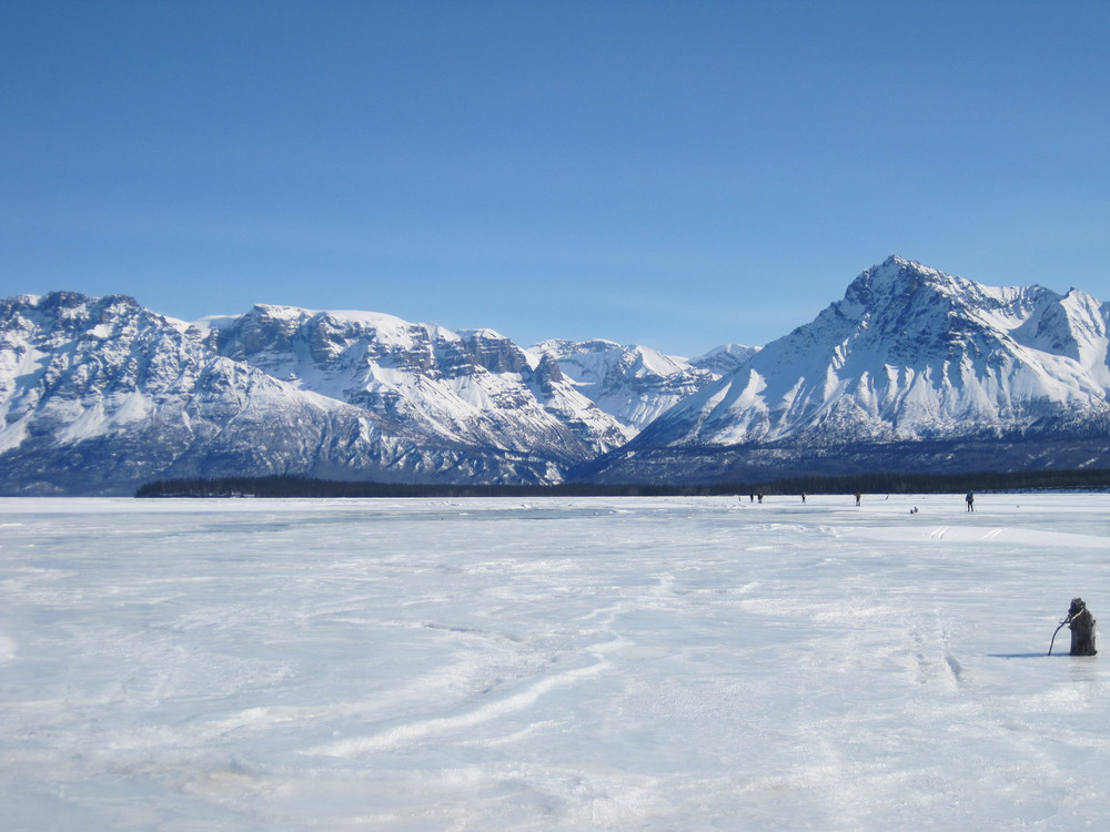 Skiing down the Nizina. Photo by H. Eisen.