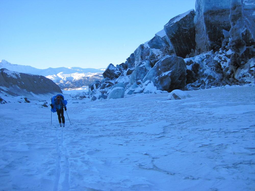 Katie skis up the Nizina moraine. Photo by H. Eisen.
