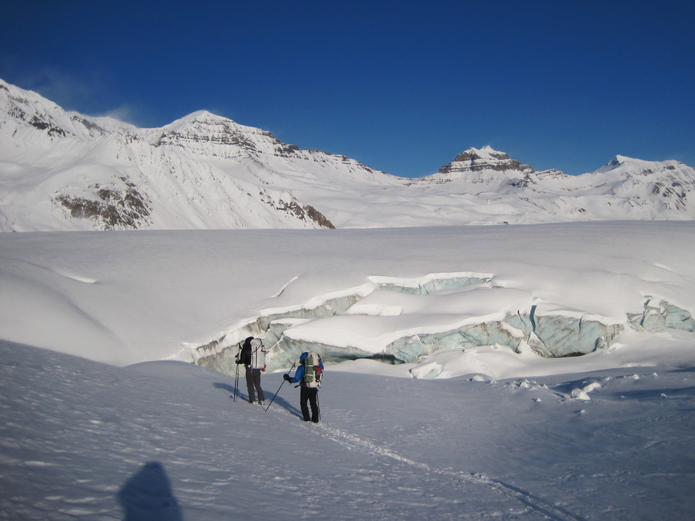 Katie and John approaching the Frederika Glacier.  Photo by H. Eisen.