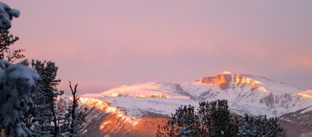 magic light at dawn at the top of red lodge mountain resort