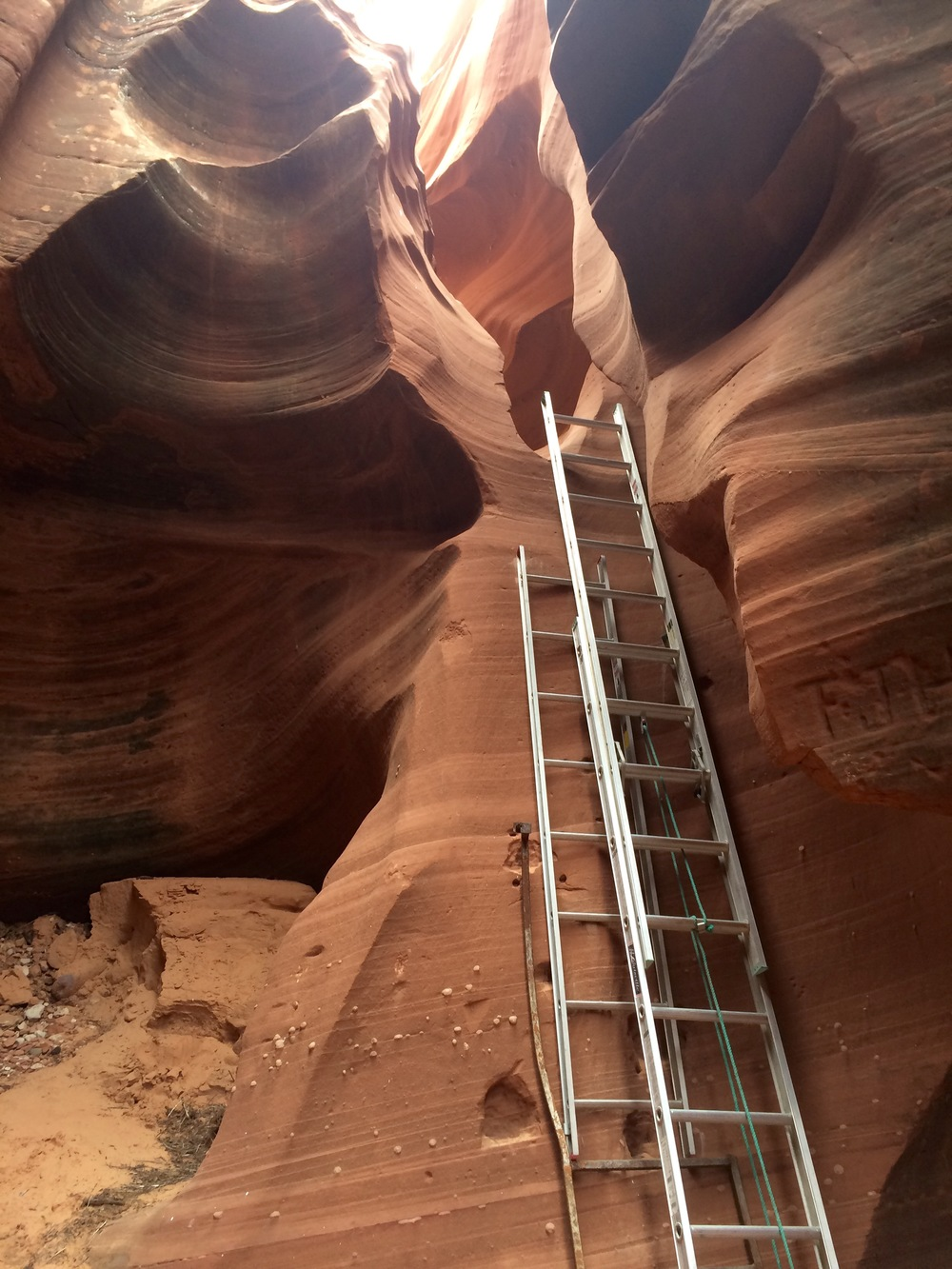 slot canyon ladders.  photo by K. Strong.