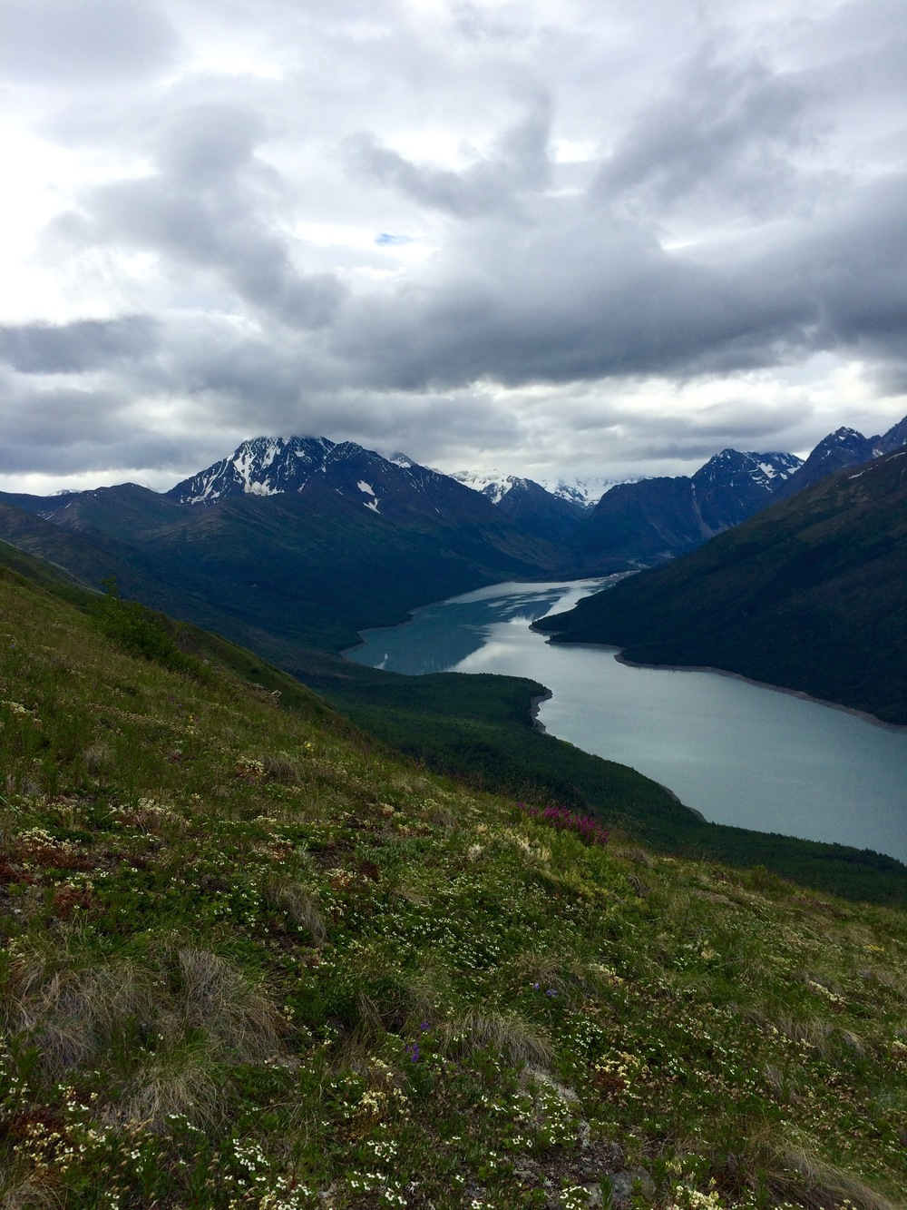 Eklutna Lake from the climb up the Twin Peaks Trail. Photo by K. Strong.