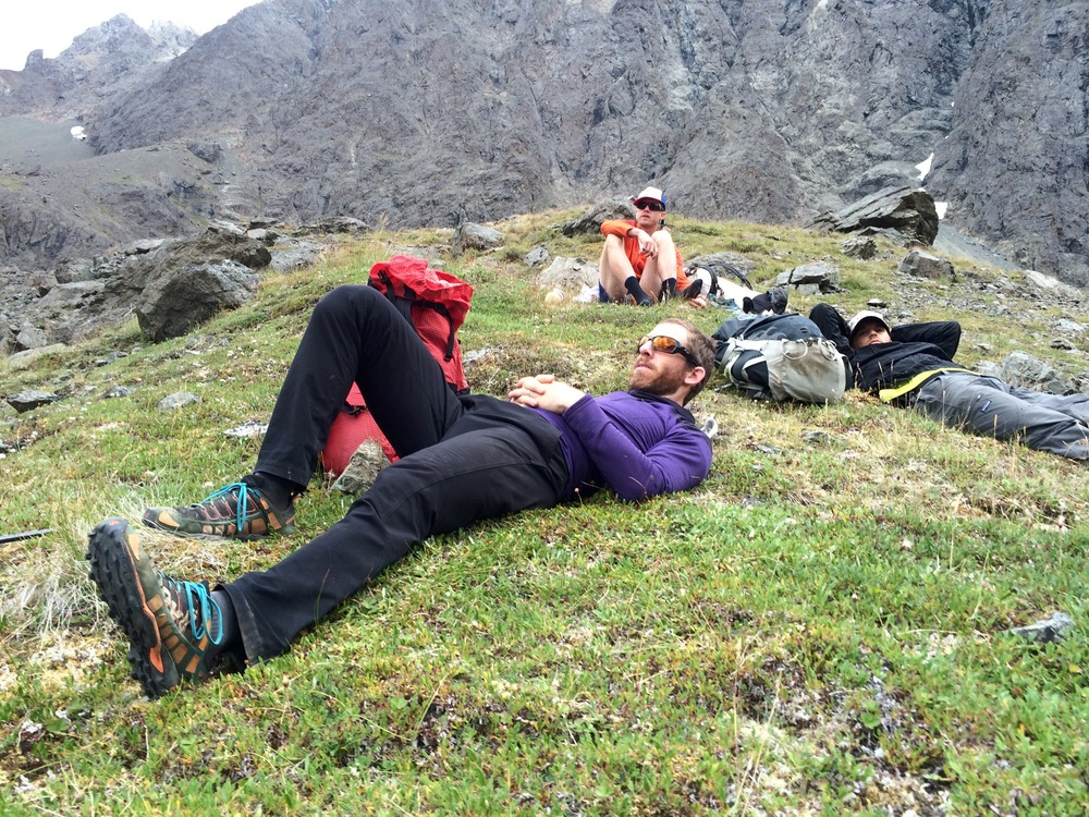 Taking a break before heading up our fourth pass of the day.Photo by K. Strong.