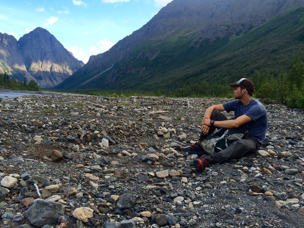 Contemplating the next river crossing.Photo by K. Strong.