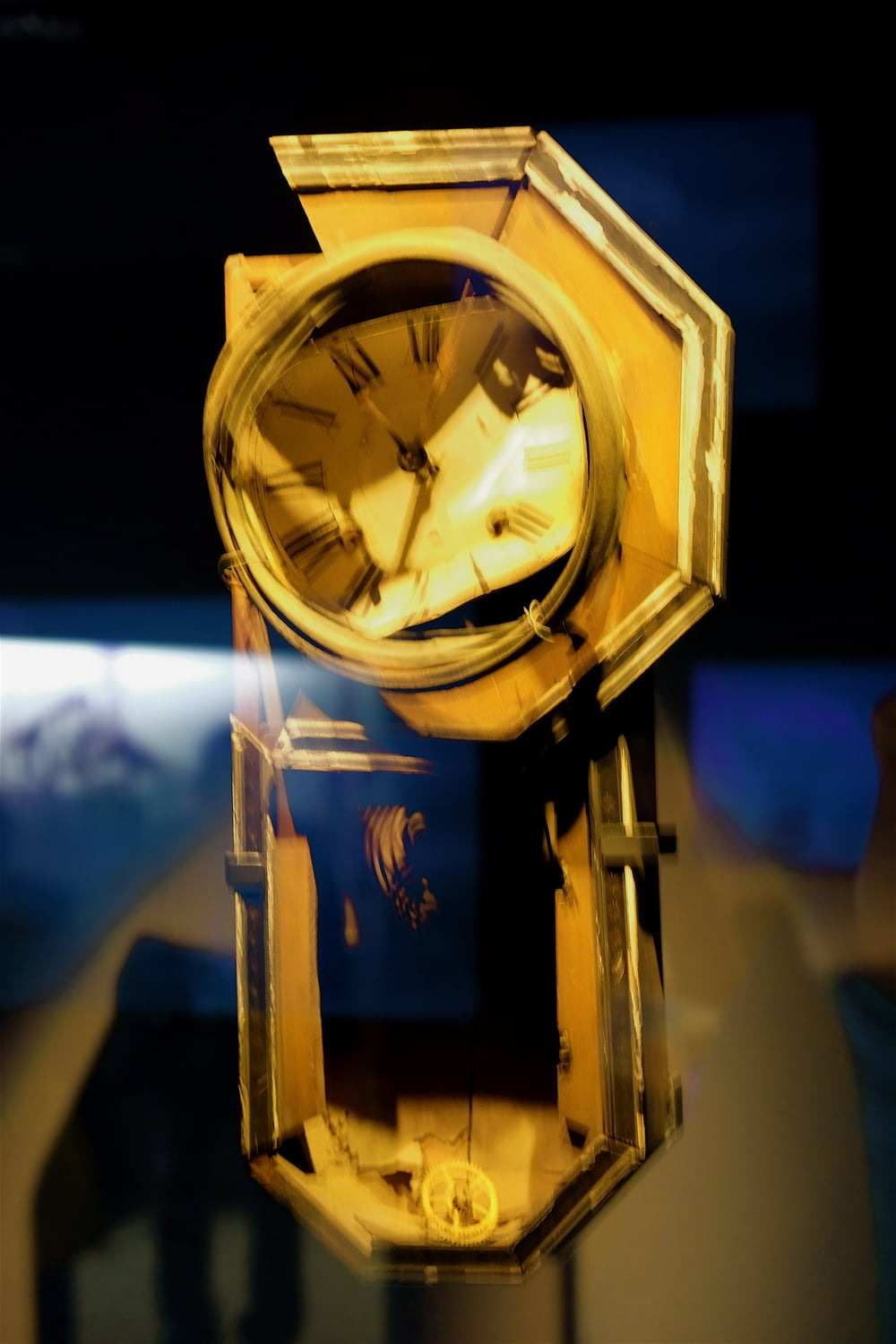 This wall clock was found in a house near Sanno Shinto Shrine, about 800 meters from the hypocenter of the nuclear bomb explosion in Nagasaki. The clock was shattered by the blast, and its hands stopped at 11:02 -- the moment of the explosion. Nagasaki Atomic Bomb Museum.