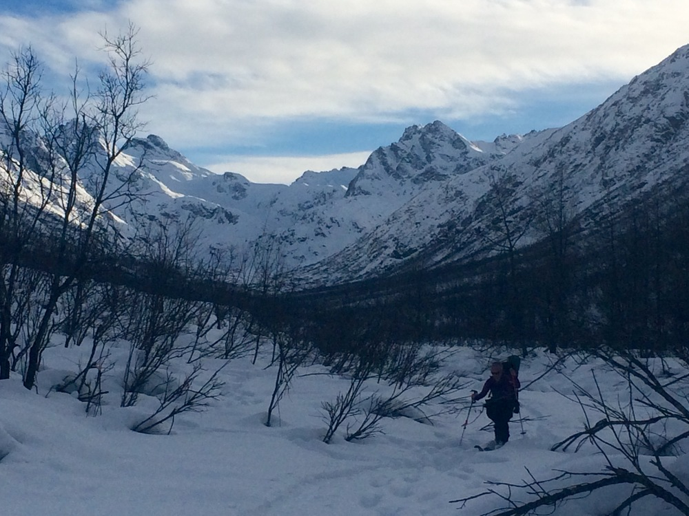 Elizabeth skiing down Bartholf Creek. Photo by K. Strong.