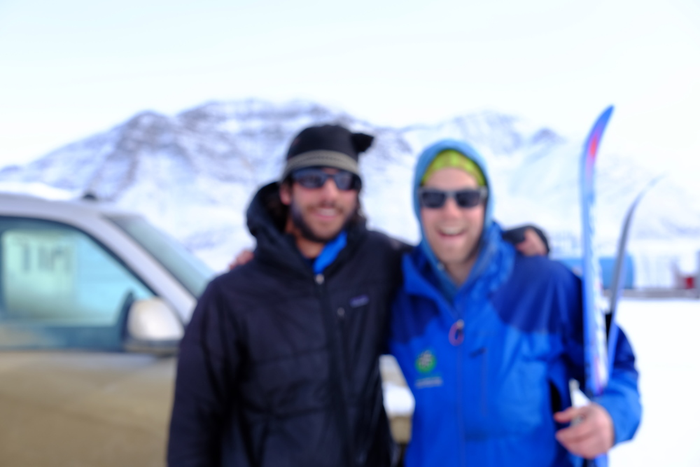 Brian and Zach (sorry for the blur!). The Girdwood Boys. Two ski patrollers taking the week to go horizontal. All smiles. Photo by K. Strong.