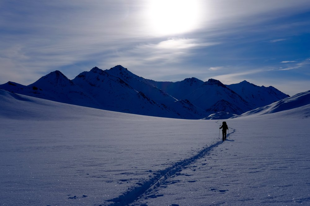 Skiing toward Accomplishment Creek. Photo by K. Strong.