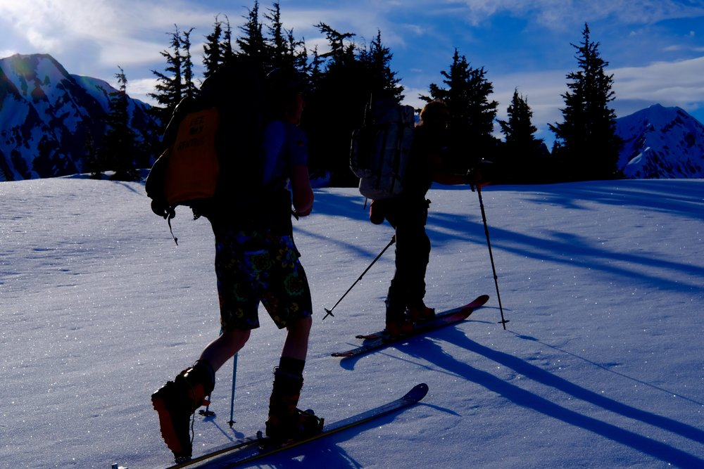 The forecast called for rain. Somehow, we stayed in a pocket of sunshine for almost the entire ski. Photo by K. Strong.
