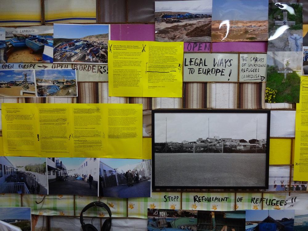 Konstnären Thomas Kilppers presentation av sitt projekt om migration, A lighthouse for Lampedusa!, vid Venedigbiennalen 2015. Projektet pågår sedan 2008. Foto: Lars Vilks.
