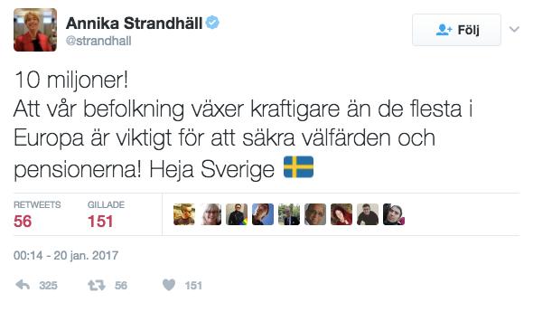 Socialförsäkringsminister Annika Strandhäll kommenterar den svenska befolkningstillväxten på Twitter.
