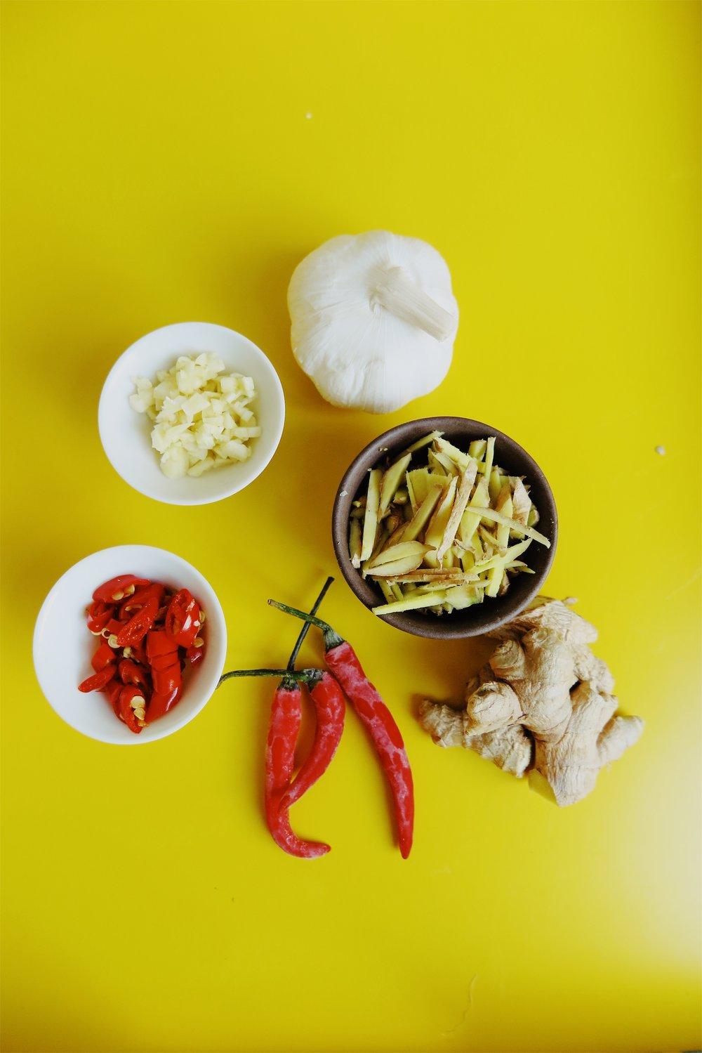 garlic . ginger . chillies