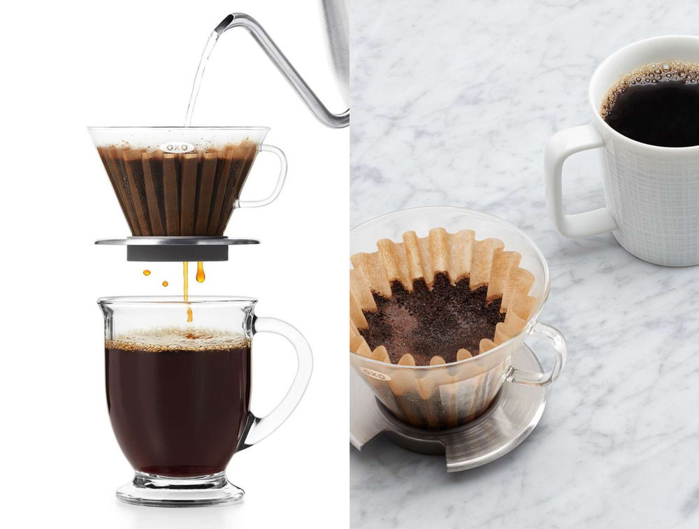 Glass pour-over dripper.