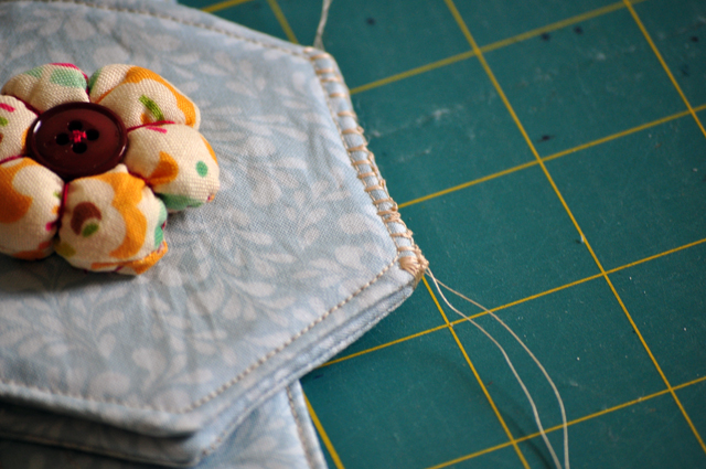 overlock together on one row edge of the hexies.