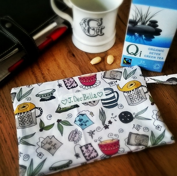 TEA FOR TWO - FABRIC BY JDEEBELLA @SPOONFLOWER - PATTERN FOR THIS POUCH IS AVAILABLE ALSO AS READY PRINTED TO CUT BY @SPROUTPATTERNS
