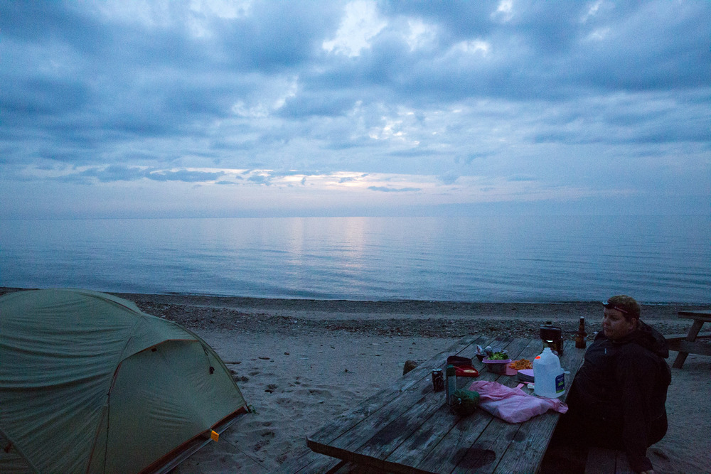 Camping along side Lake Erie. The threatening storm never really rolled in.